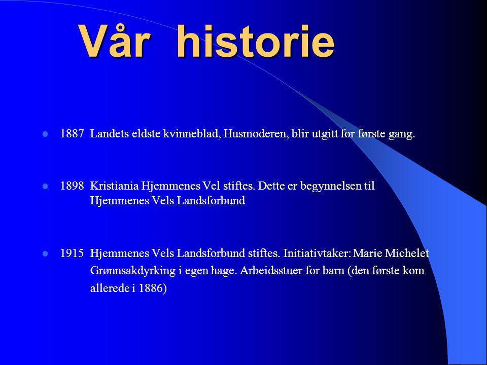 Vår historie 1887 Landets eldste kvinneblad, Husmoderen, blir utgitt for første gang.