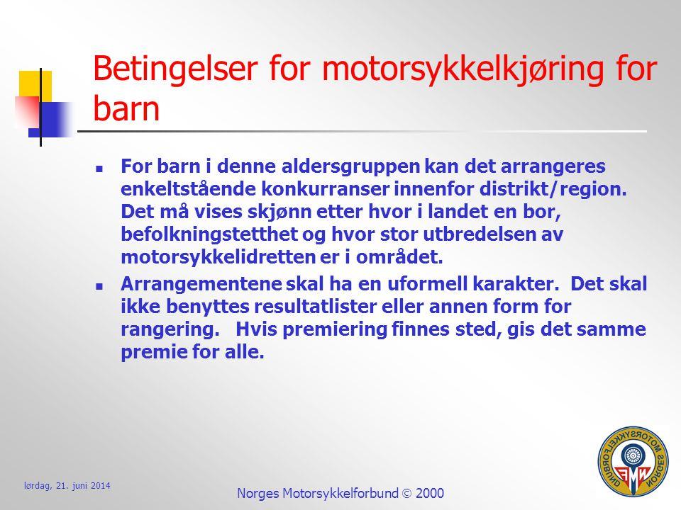 Betingelser for motorsykkelkjøring for barn