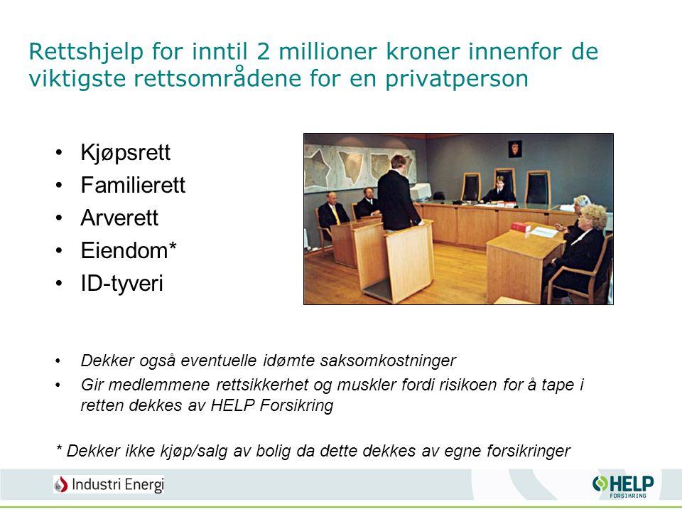 Rettshjelp for inntil 2 millioner kroner innenfor de viktigste rettsområdene for en privatperson