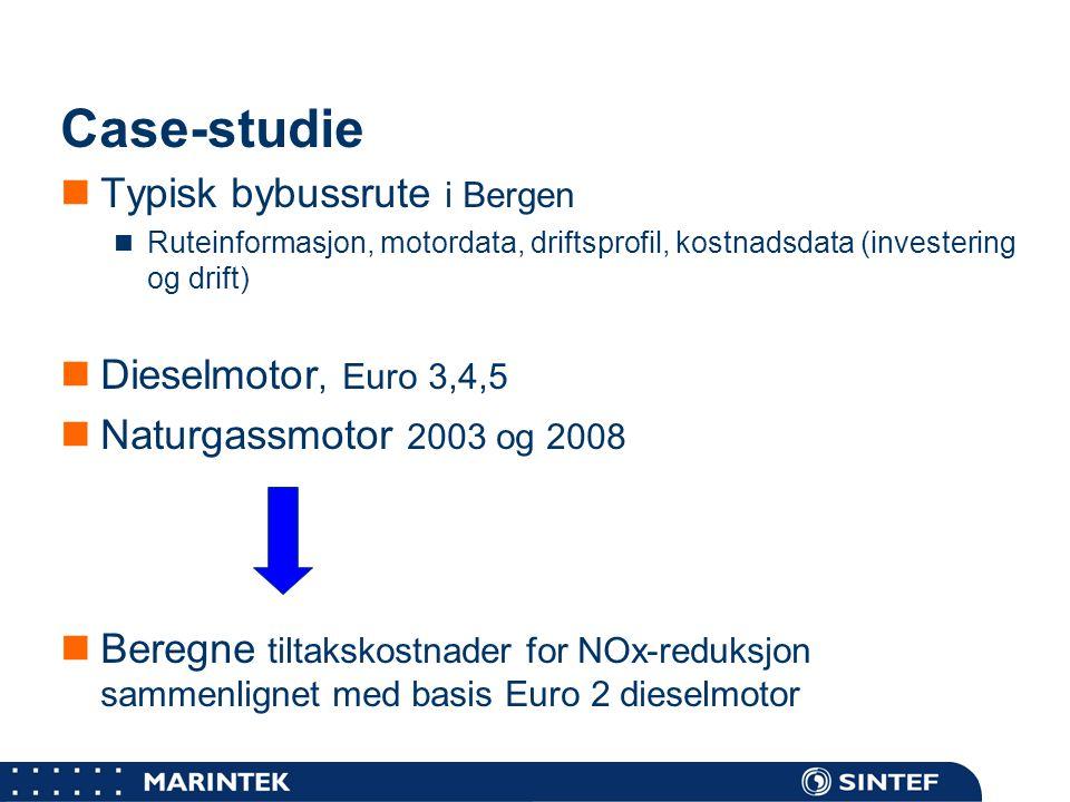 Case-studie Typisk bybussrute i Bergen Dieselmotor, Euro 3,4,5