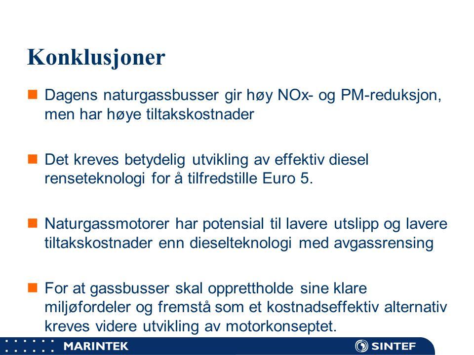 Konklusjoner Dagens naturgassbusser gir høy NOx- og PM-reduksjon, men har høye tiltakskostnader.