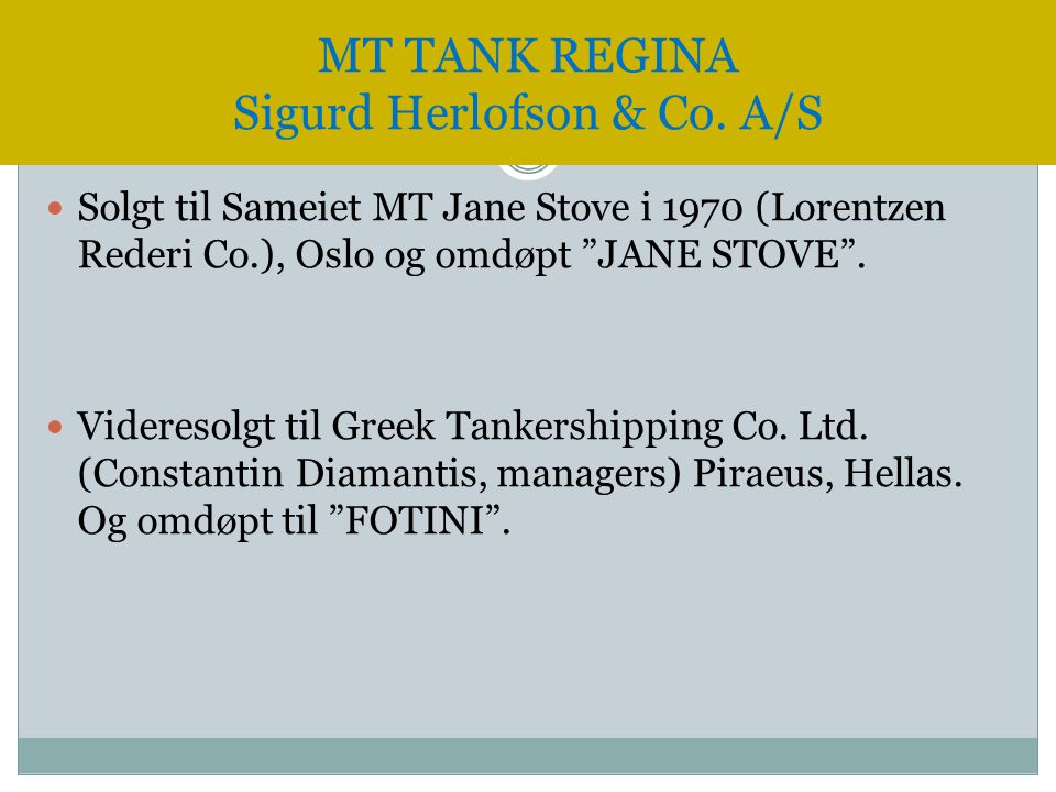 MT TANK REGINA Sigurd Herlofson & Co. A/S
