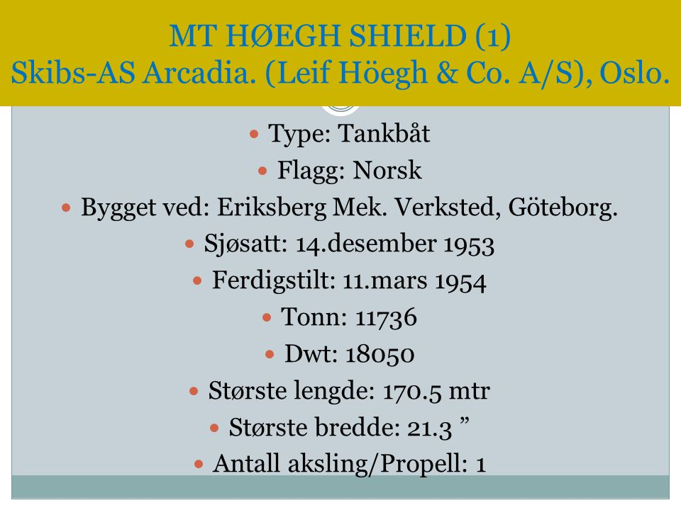 MT HØEGH SHIELD (1) Skibs-AS Arcadia. (Leif Höegh & Co. A/S), Oslo.