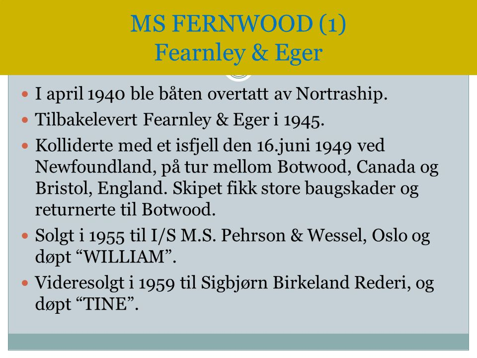 MS FERNWOOD (1) Fearnley & Eger