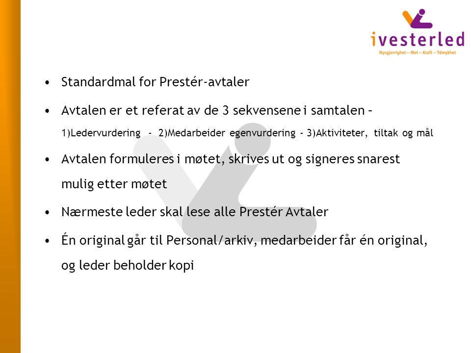 Standardmal for Prestér-avtaler