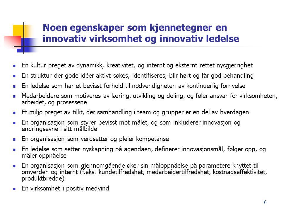 Noen egenskaper som kjennetegner en innovativ virksomhet og innovativ ledelse