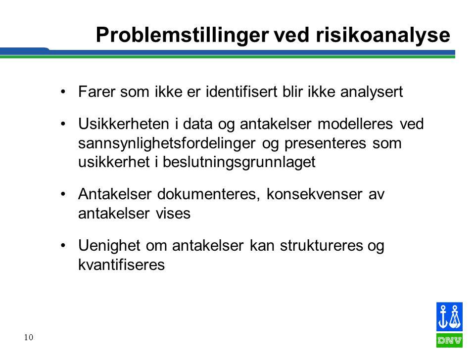 Problemstillinger ved risikoanalyse