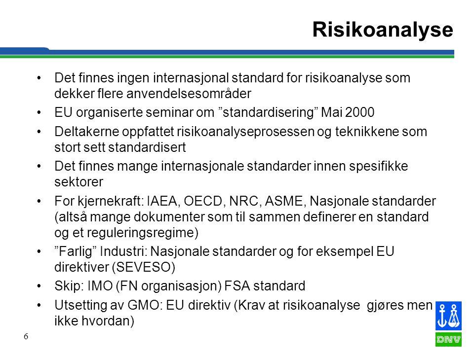 Risikoanalyse Det finnes ingen internasjonal standard for risikoanalyse som dekker flere anvendelsesområder.