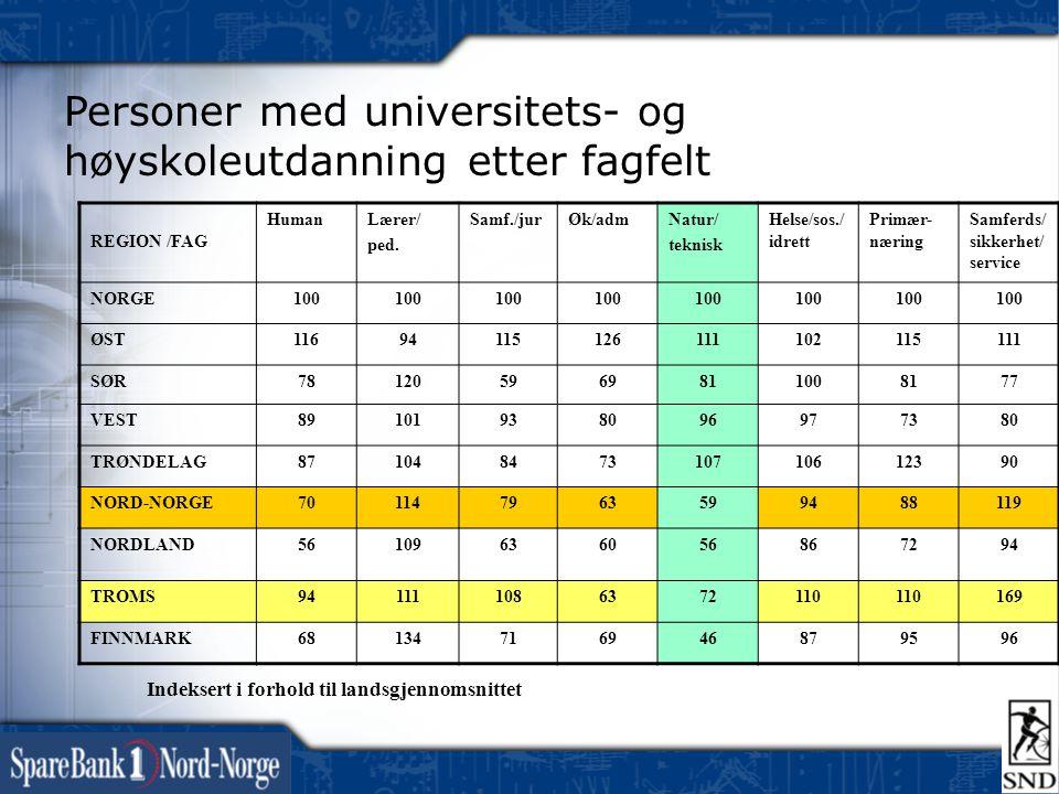 Personer med universitets- og høyskoleutdanning etter fagfelt