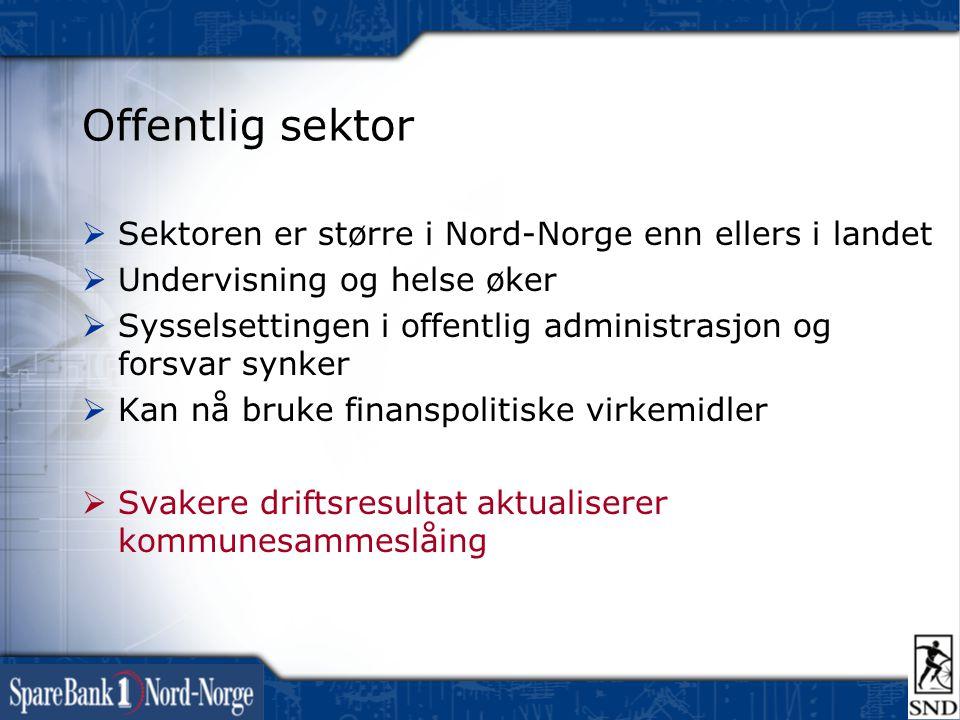 Offentlig sektor Sektoren er større i Nord-Norge enn ellers i landet