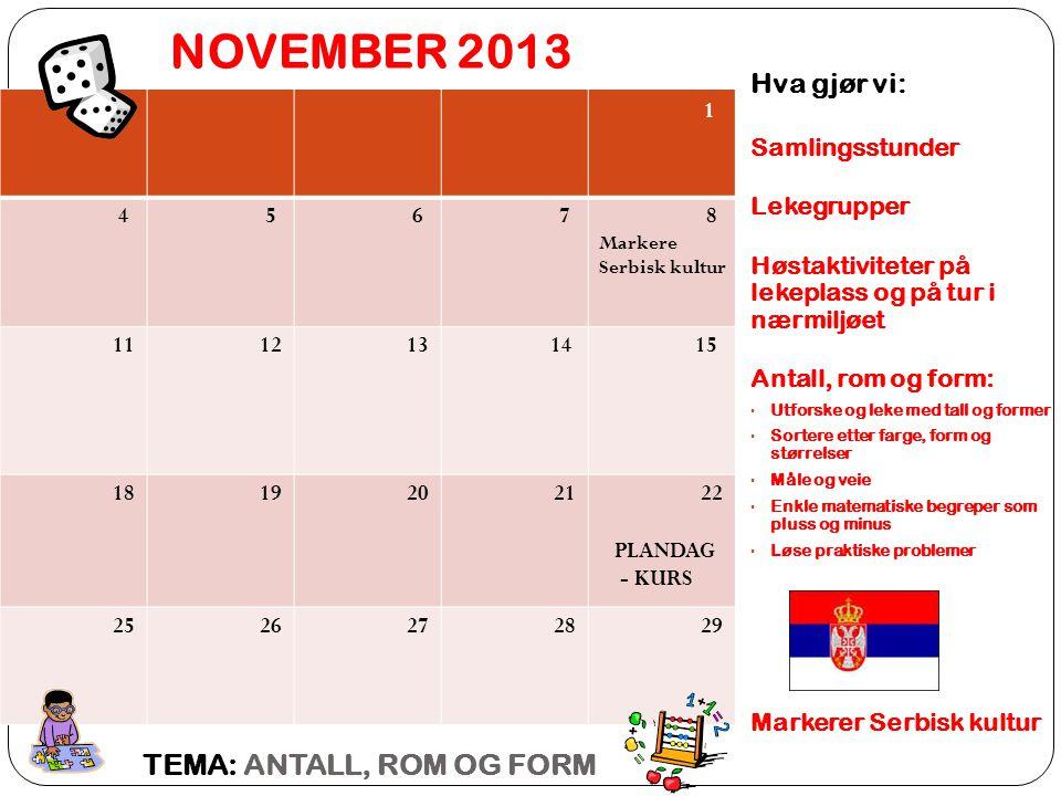 NOVEMBER 2013 TEMA: ANTALL, ROM OG FORM Hva gjør vi: 1 Samlingsstunder