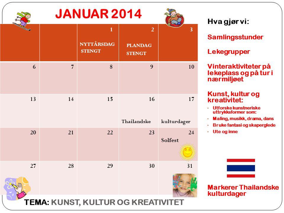 JANUAR 2014 TEMA: KUNST, KULTUR OG KREATIVITET Hva gjør vi: 1 2 3