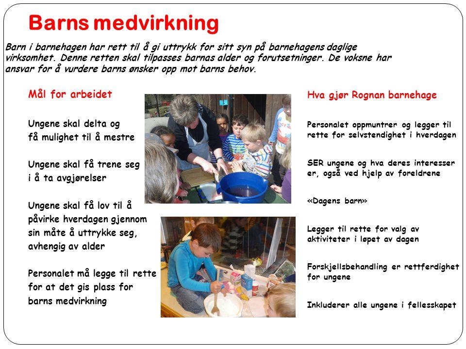 Barns medvirkning Mål for arbeidet Hva gjør Rognan barnehage