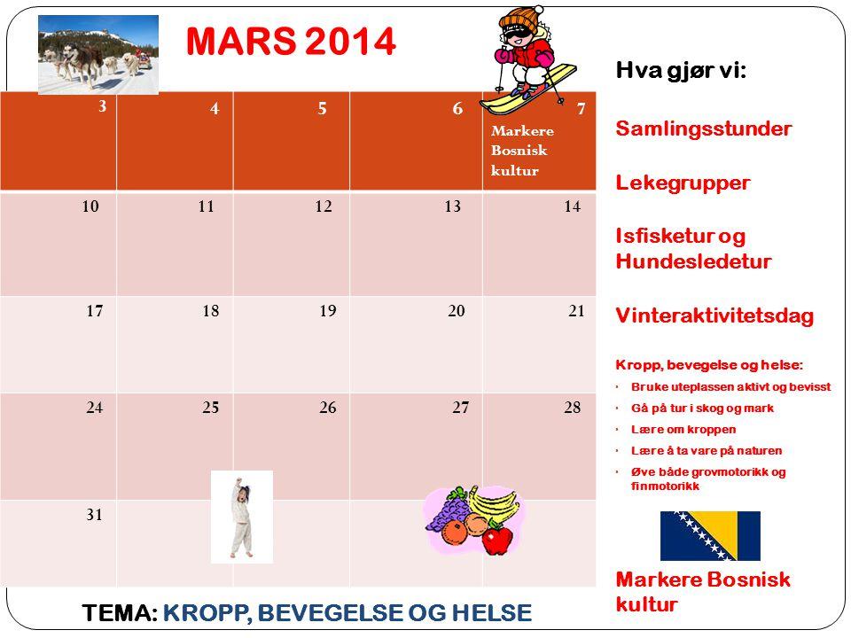 MARS 2014 Hva gjør vi: TEMA: KROPP, BEVEGELSE OG HELSE Samlingsstunder