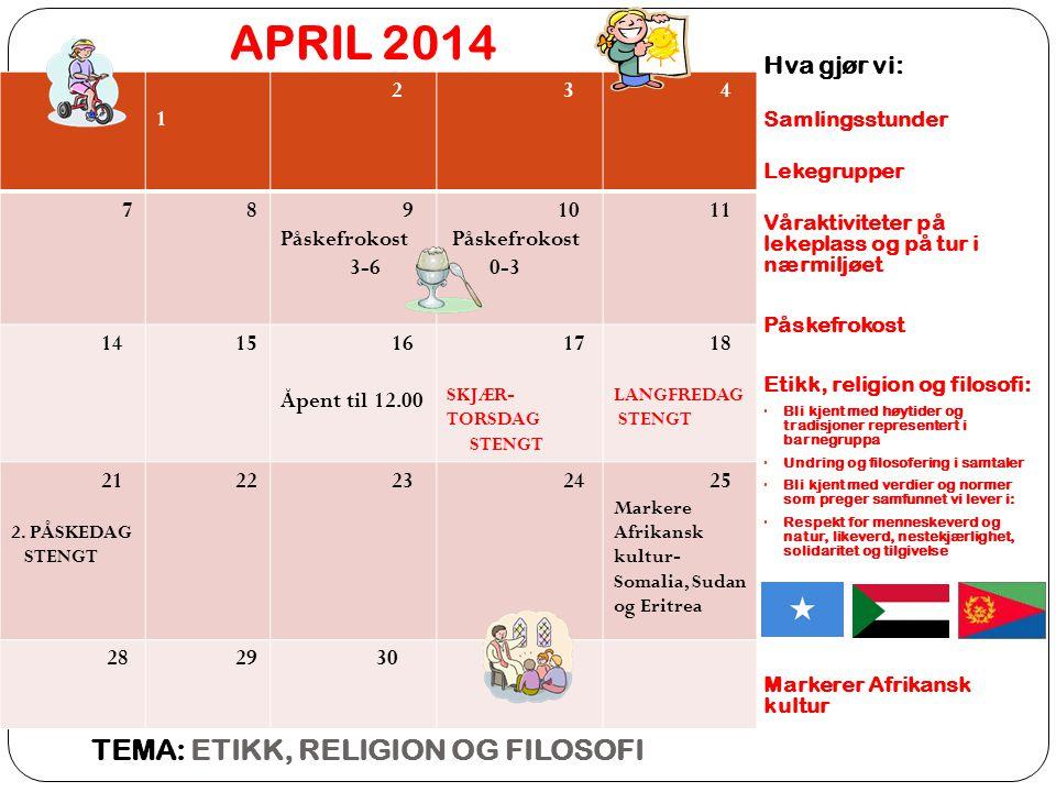 APRIL 2014 TEMA: ETIKK, RELIGION OG FILOSOFI Hva gjør vi: 1 2 3 4 7 8