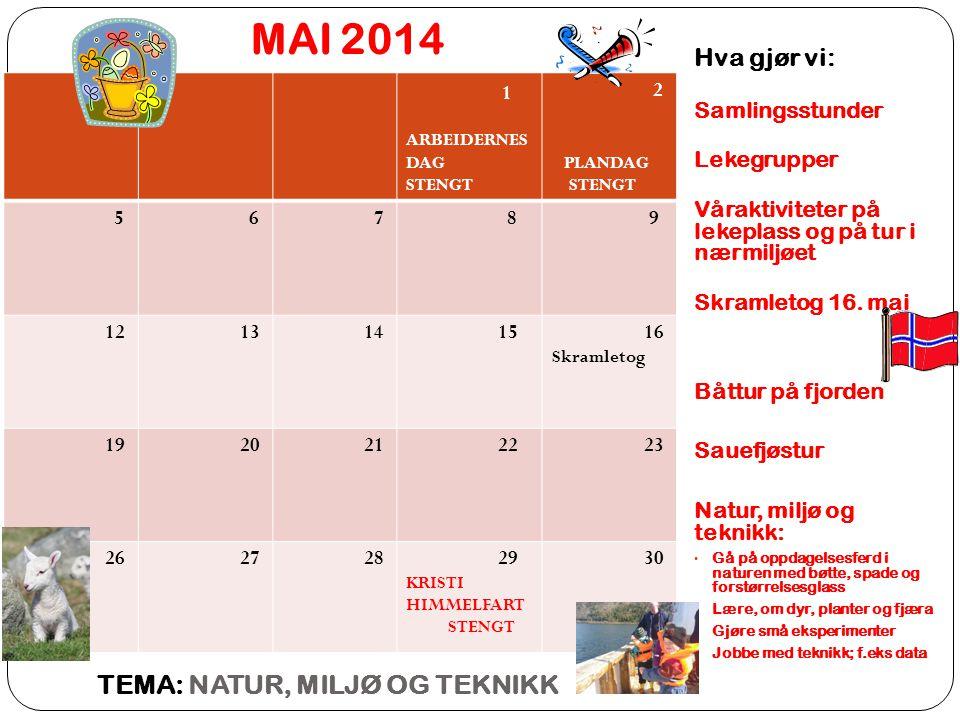 MAI 2014 TEMA: NATUR, MILJØ OG TEKNIKK Hva gjør vi: 1 Samlingsstunder