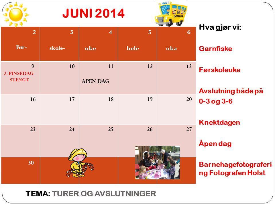JUNI 2014 TEMA: TURER OG AVSLUTNINGER Hva gjør vi: Garnfiske