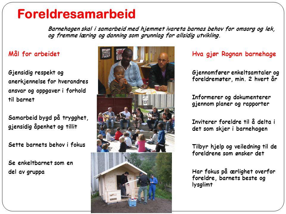 Foreldresamarbeid Mål for arbeidet Hva gjør Rognan barnehage