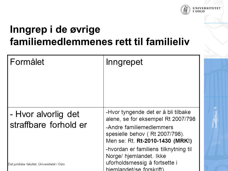 Inngrep i de øvrige familiemedlemmenes rett til familieliv