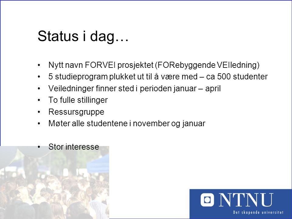 Status i dag… Nytt navn FORVEI prosjektet (FORebyggende VEIledning)