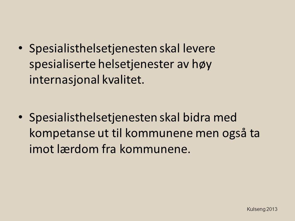 Spesialisthelsetjenesten skal levere spesialiserte helsetjenester av høy internasjonal kvalitet.