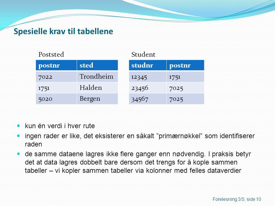 Spesielle krav til tabellene