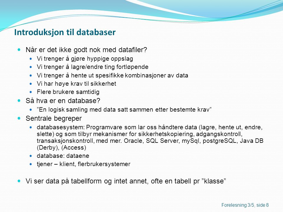 Introduksjon til databaser