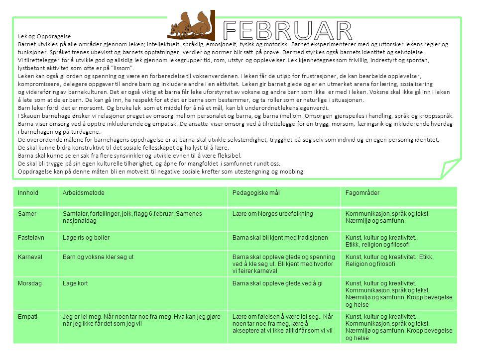 FEBRUAR Lek og Oppdragelse