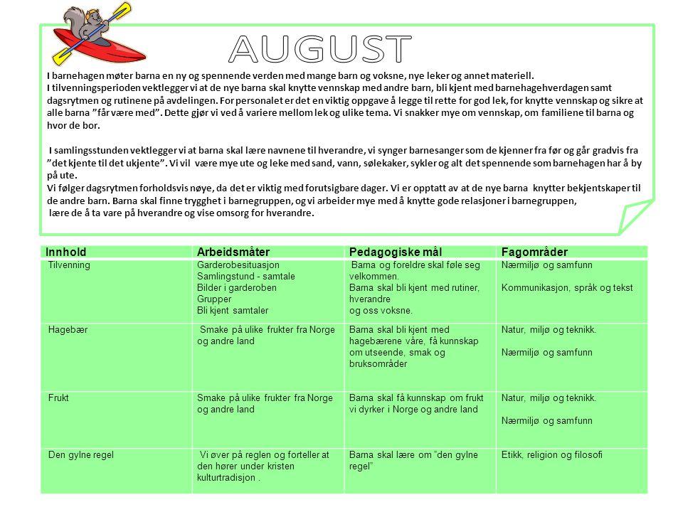 AUGUST Innhold Arbeidsmåter Pedagogiske mål Fagområder
