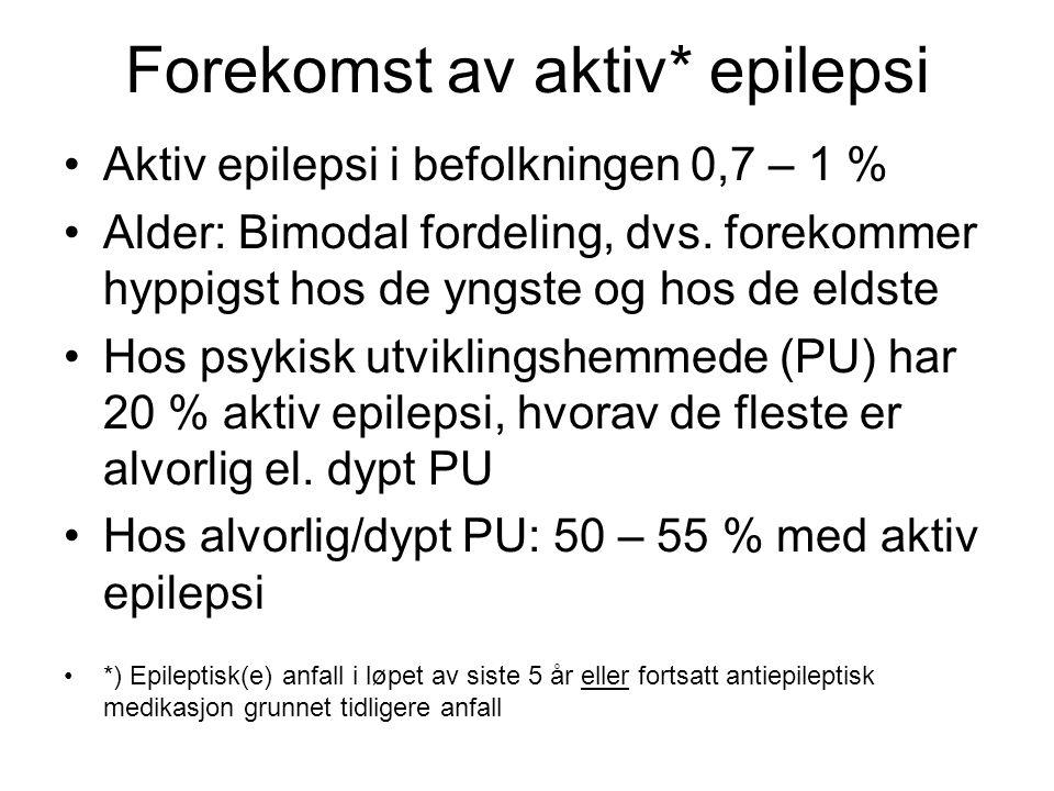 Forekomst av aktiv* epilepsi