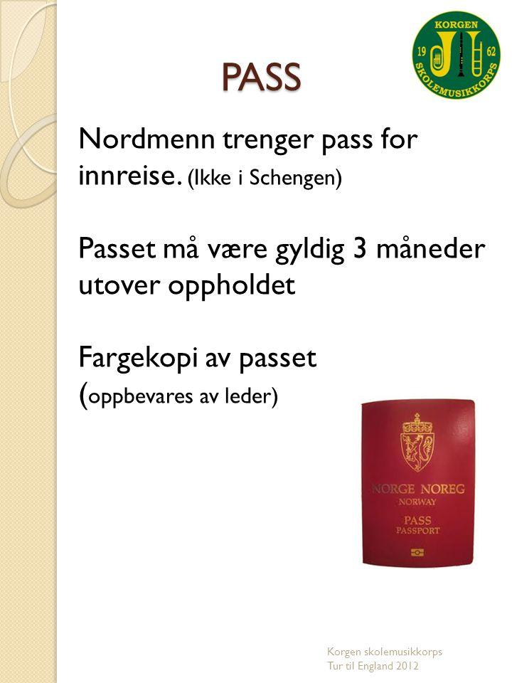 PASS Nordmenn trenger pass for innreise. (Ikke i Schengen)