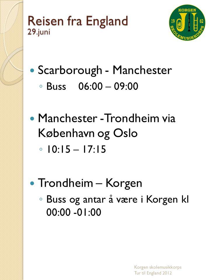Reisen fra England Scarborough - Manchester