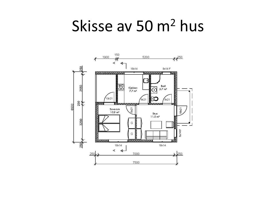 Skisse av 50 m2 hus