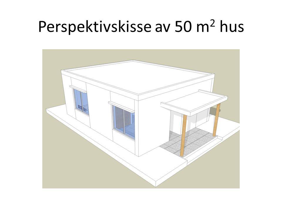 Perspektivskisse av 50 m2 hus