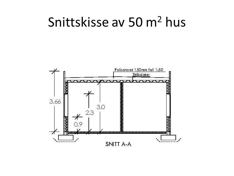 Snittskisse av 50 m2 hus