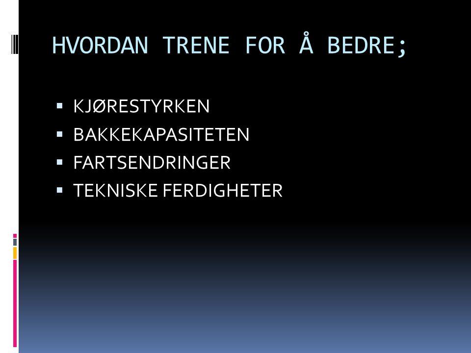 HVORDAN TRENE FOR Å BEDRE;