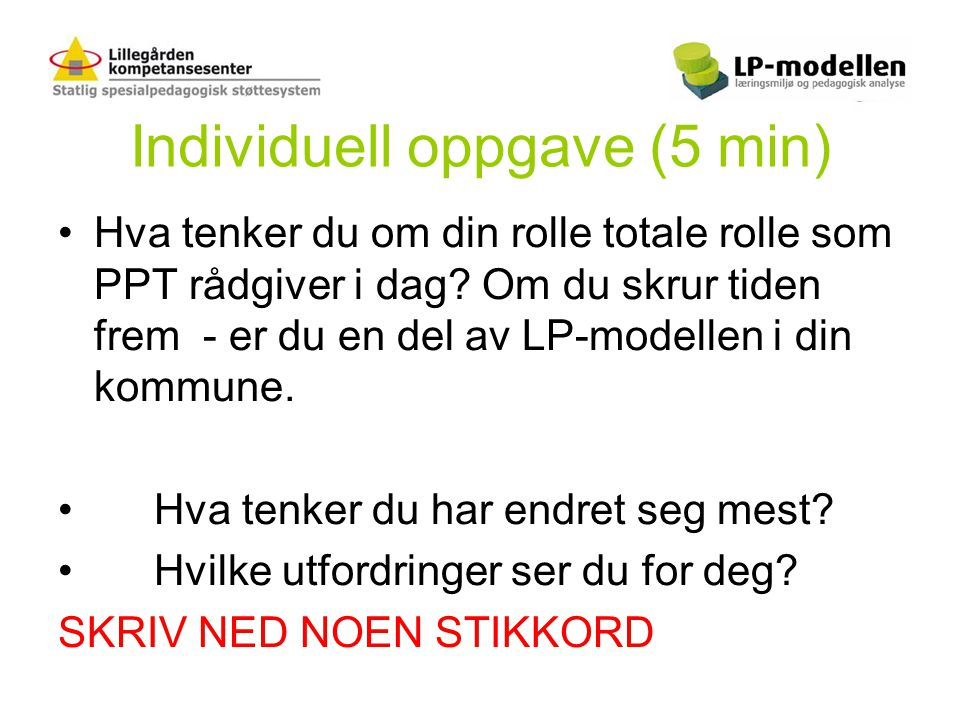 Individuell oppgave (5 min)