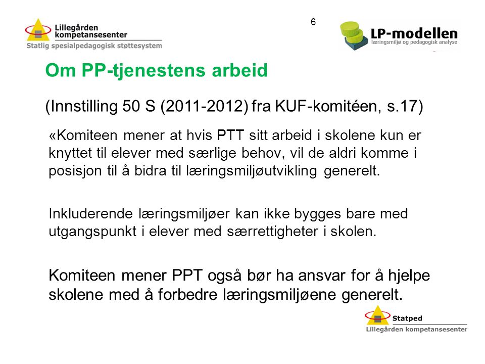 Om PP-tjenestens arbeid
