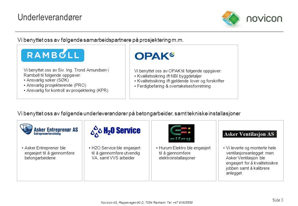 Underleverandører Vi benyttet oss av følgende samarbeidspartnere på prosjektering m.m.