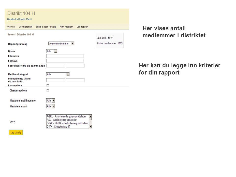 Her vises antall medlemmer i distriktet Her kan du legge inn kriterier for din rapport