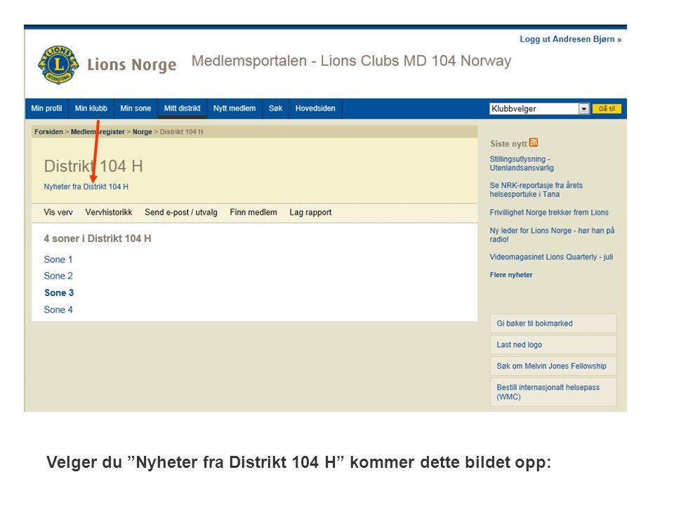 Velger du Nyheter fra Distrikt 104 H kommer dette bildet opp:
