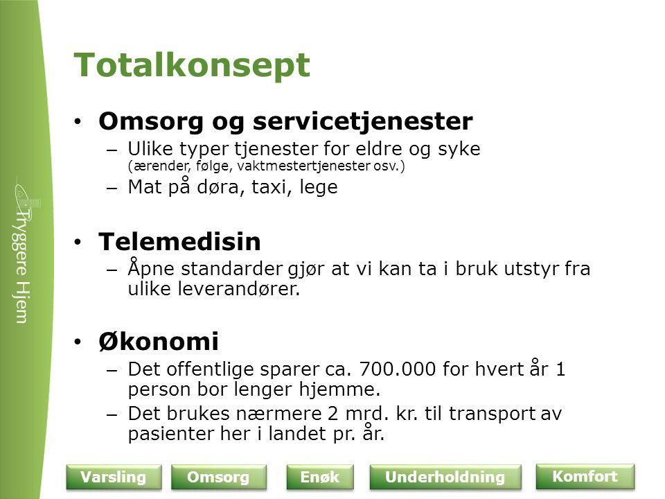 Totalkonsept Omsorg og servicetjenester Telemedisin Økonomi