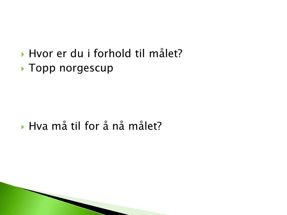 Hvor er du i forhold til målet Topp norgescup