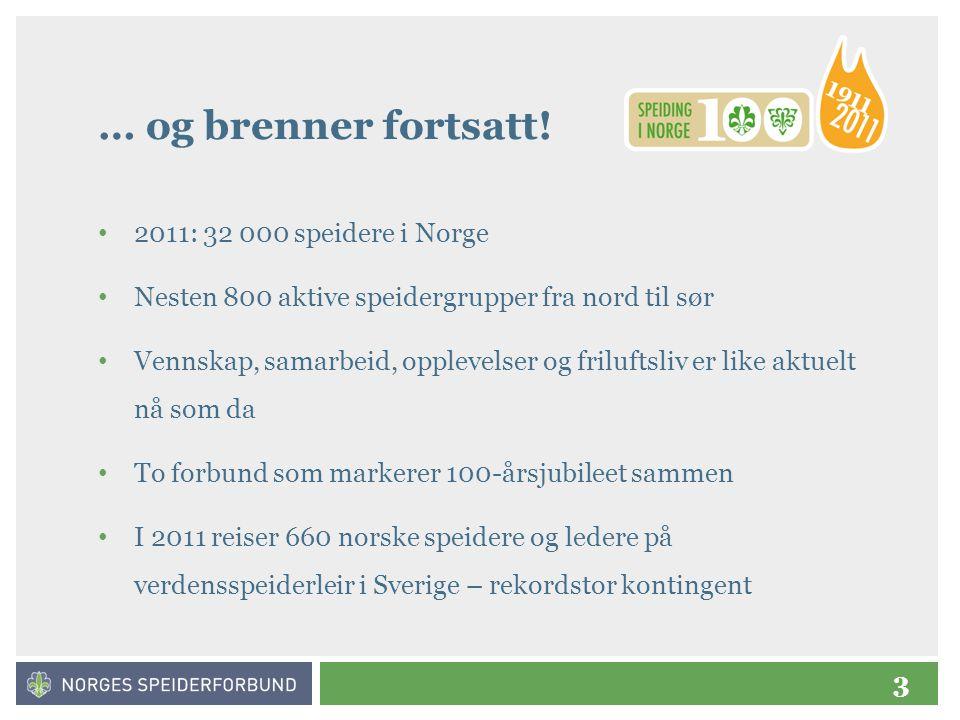 … og brenner fortsatt! 2011: 32 000 speidere i Norge