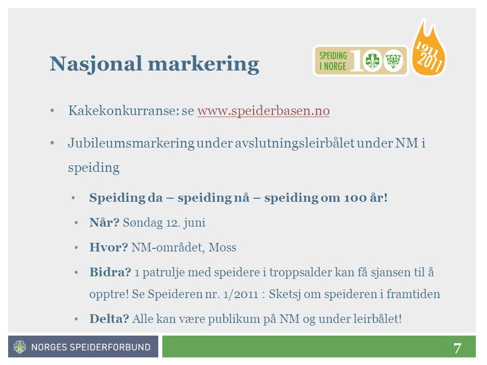Nasjonal markering Kakekonkurranse: se www.speiderbasen.no