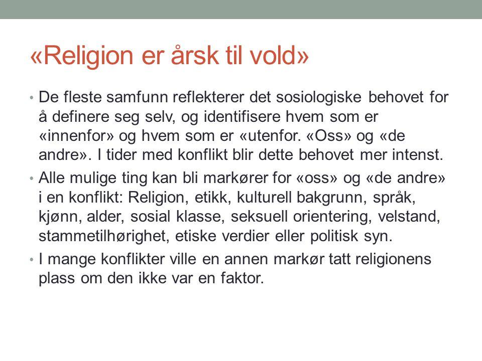 «Religion er årsk til vold»