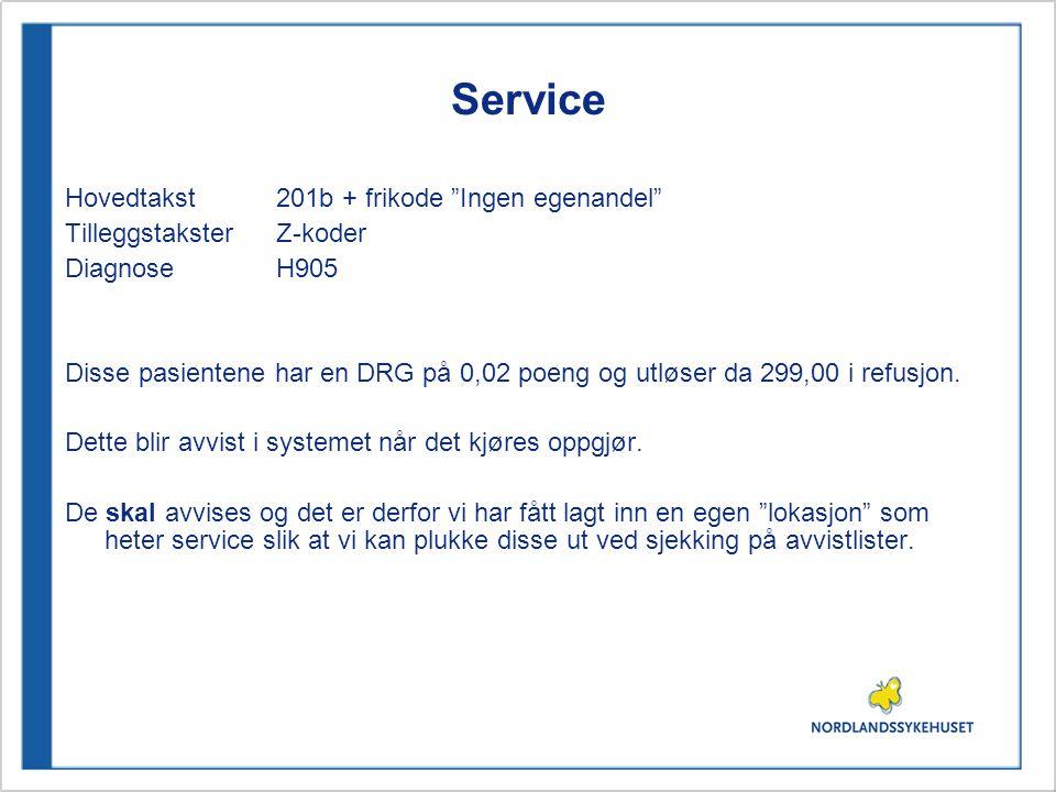 Service Hovedtakst 201b + frikode Ingen egenandel