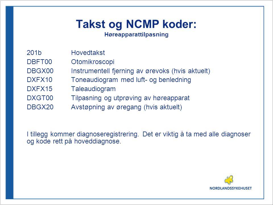 Takst og NCMP koder: Høreapparattilpasning