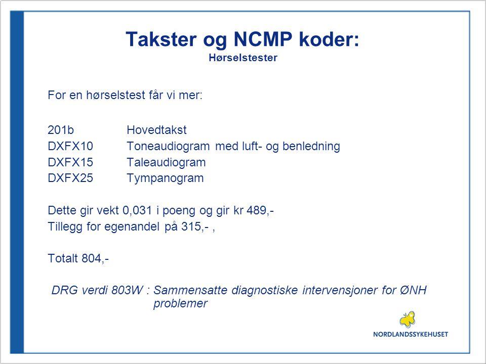 Takster og NCMP koder: Hørselstester