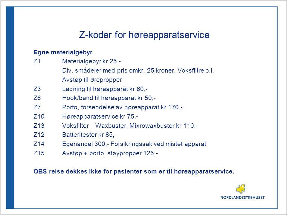 Z-koder for høreapparatservice